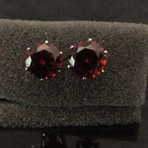 Jewelry - Vtg .925 SS Red Fire Opals Post Earrings W/B'fly
